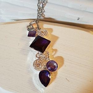 "Amethyst Faux Purple Silver Necklace 24"""